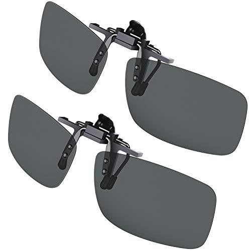 Gritin Clip on Gafas de Sol, [2 Unidades] Gafas de Sol polarizadas UV400 – Ajuste cómodo y Seguro Sobre Gafas de Sol con prescripción, Ideal para conducción y al Aire Libre