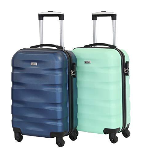 Alistair Fly - Juego de 2 Maletas para cabinas (55 cm, ABS, ultraligeras y Resistentes, 4 Ruedas) Azul Azul y Verde