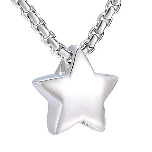 kliy CajaFuneraria Ijd9993 Star Cremation Jewelry -316L Collares De Urna Conmemorativa De Acero Inoxidable para Cenizas De Mascotas Colgante Funerario De Recuerdo (13 Mm) -Colgante_con_Cadena