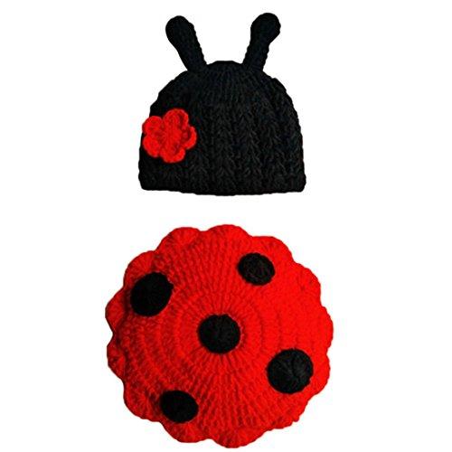 Sombrero De Mariquita De Punto ReciéN Nacido AIMEE7, Bebé ReciéN Nacido Lindos Insectos Ganchillo Tejido Ropa De Traje Fotografía Accesorios De Fotografía (Rojo)