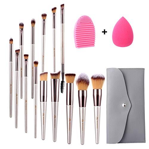 Miserwe 17Pcs MakeupBrushesSet Professional Cosmetic Brushes with Makeup Sponge Brush Cleaner and...