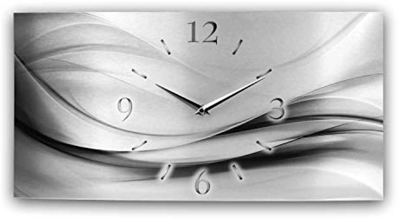 Kreative Feder Abstrakt Silber XXL Metallic Designer Funk Wanduhr Funkuhr modernes Design leise ohne Ticken  Made in Germany (80x40cm manuelle Funkuhr)