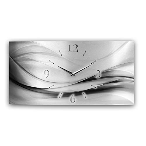 Kreative Feder Abstrakt Silber XXL Metallic Designer Funk Wanduhr Funkuhr modernes Design leise ohne Ticken * Made in Germany* (50x25cm Funkuhr)