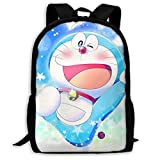 wobuzhidaoshamingzi Mochila Casual Doraemon Print Zipper School Bag Mochila de Viaje Mochila-Z51-9F