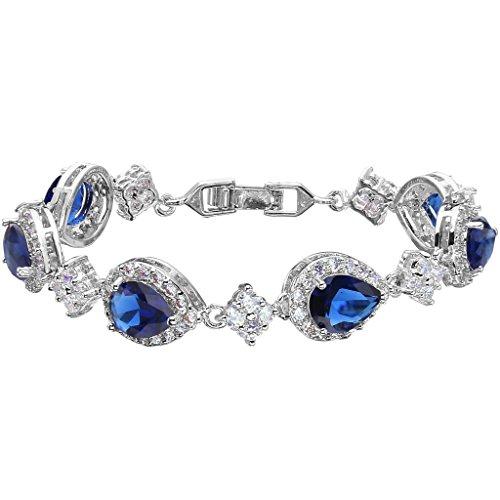 EVER FAITH Silver-Tone Full Zircon Wedding Tear Drop Link Bracelet Blue Sapphire-Color