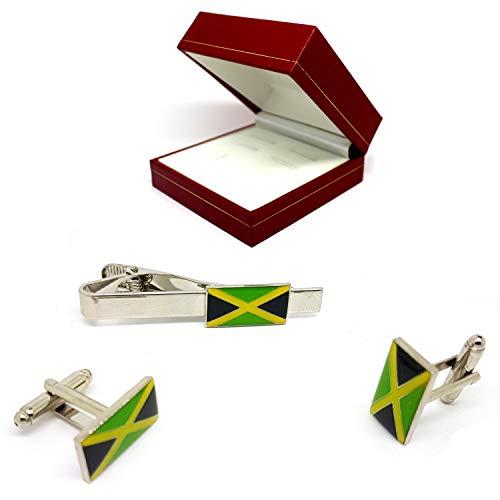 JAMAICA - Juego de pinzas para corbatas de metal inoxidable con diseño de bandera nacional