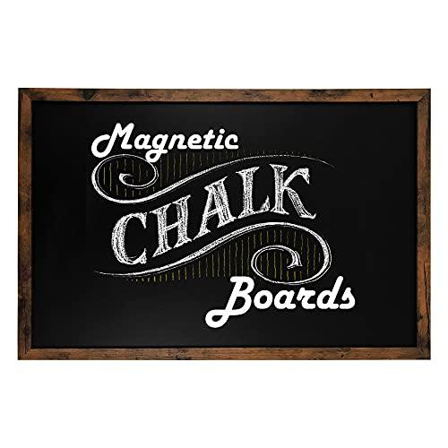 """Loddie Doddie Magnetic Chalkboard - 24"""" x 36"""" Magnetic Large Chalkboard for Wall Decor - Easy to Erase Chalkboard Rustic Frame for Kitchen, - Big Framed Magnet Blackboard - Hanging Black Chalkboards"""