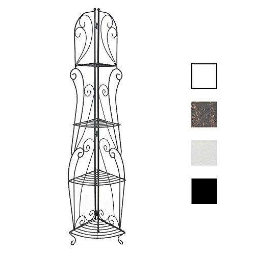 CLP Eisen-Eckregal IRMA I Stabiles Klappregal mit Vier Ablagen I Dekoregal im Landhausstil I erhältlich, Farbe:schwarz