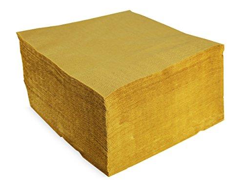 Morigami Servilleta 40x40, 2 capas, pliegue 1/4, 100 servilletas, 2 capas lisa con cenefa, Oro