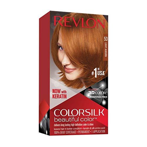 Revlon Colorsilk Beautiful Color Permanent Hair Color with 3D Gel Technology & Keratin, 100% Gray Coverage Hair Dye, 53 Light Auburn