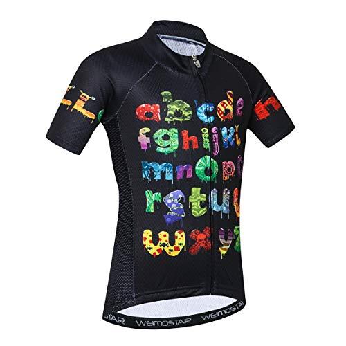 Maglia da ciclismo a maniche corte per bambini, Bambina, Lettera., XL(Height 130-139cm)