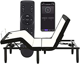 Full Adjustable Bed Frame,Applied Sleep Adjustable Base with 4 Modes Back&Leg Massage /Wireless Remote&Bluetooth APP Syncing/Under Lighting/ Charging Ports/Head&Foot Incline/Anti Snore/Easy Assembly