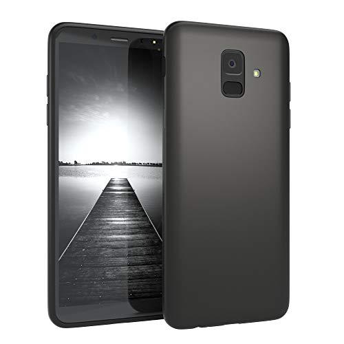 EAZY CASE Handyhülle Silikon mit Kameraschutz Samsung Galaxy A6 (2018) in schwarz matt, Ultra dünn, Slimcover, Silikonhülle, Hülle, Softcase, Backcover