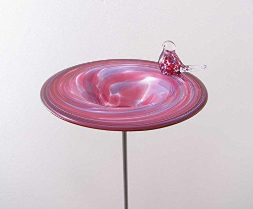 Edle Vogeltränke aus Glas Malve D 29 cm handgefertigt Vogelbad Glasobjekt