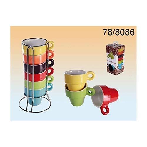 Out of the blue, 78/8086, tazza in ceramica, circa 5 x 5 cm, set da 6 colori assortiti su supporto cromato, Ceramica, blau, 2 - confezione