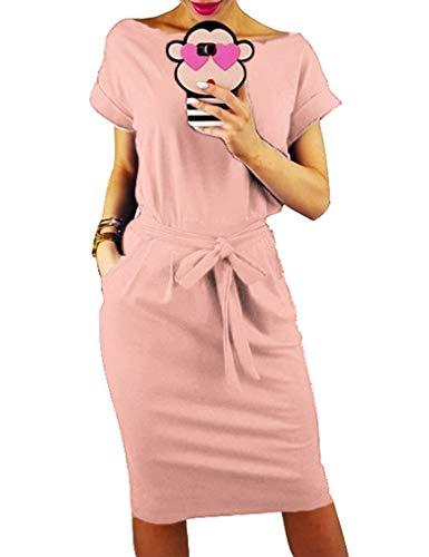 Miselon Juniors Slim Dress with Pocket Cute Short Sleeve Casual Work Pencil Dress Pink,M