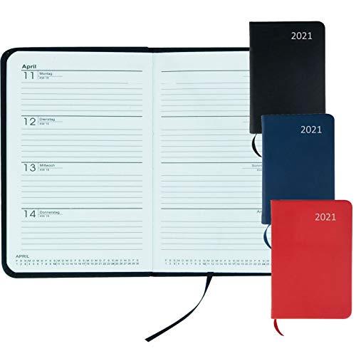 Stylex 43771 Taschenkalender 2021 mit festem Einband Din A7 farbig sortiert