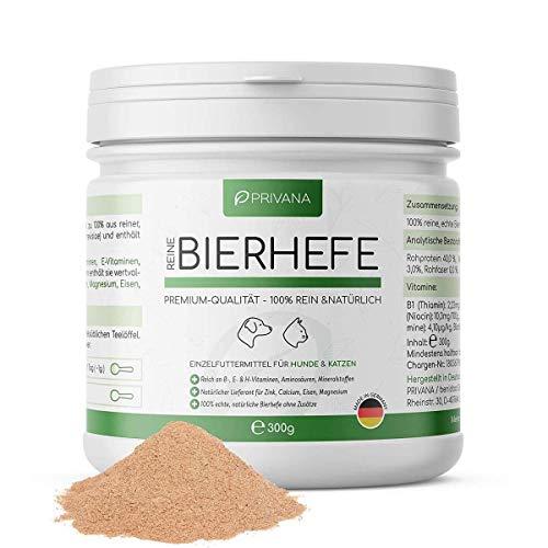 PRIVANA Natürliches Bierhefe Pulver - 300g - 100% rein & natürlich - B-Vitamine, Aminosäuren, Mineralstoffe - Made in Germany - für Hunde & Katzen