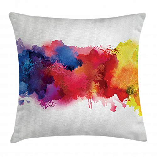 Ambesonne Abstract Throw Pillow Cushion Cover, Vibrant Stains of Watercolor Paint Splatters Brushstrokes Dripping Liquid Art, Decorative Square Accent Pillow Case, 16 X 16 Inches, Red Yellow Blue