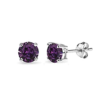 Sterling Silver 5mm Round Purple Stud Earrings created with Swarovski Crystals