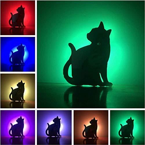 Luz De Noche Led 3DPopular Proyección De Sombra Remota Pared Mirando Hacia Atrás Gato 7 Cambio De Color Luz De Noche Amigo Navidad Año Nuevo Regalos De Cumpleaños