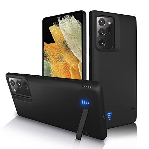 Gladgogo Akku Hülle für Samsung Galaxy Note 20 Ultra 5G, [6000 mAh] Zusatzakku Ladehülle Handyhülle Tragbare Power Bank Akku, Battery Hülle Akkuhülle Mit klappbarem Ständer (6,9 Zoll)-Schwarz