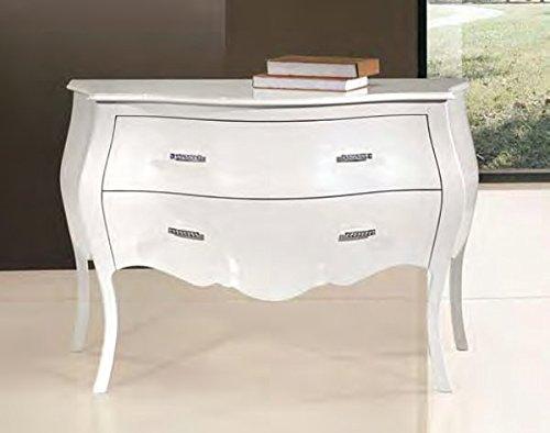 Legno&Design Como ', Commode, Buffet à 2 tiroirs profilée provençal bombée Blanc