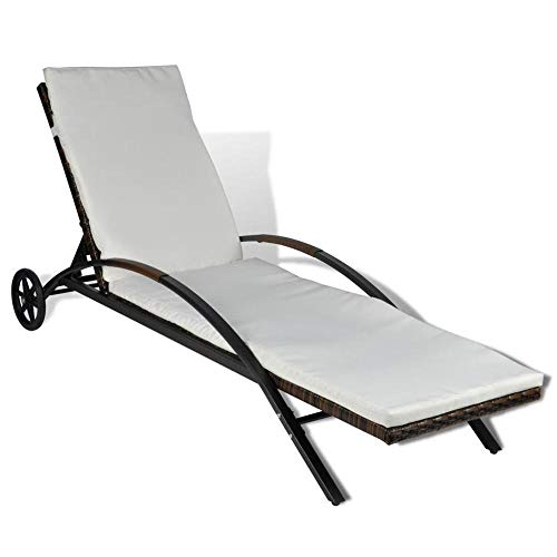 FYLYHWY Modern Garden Folding Rattan Sun loungers with Cushion and Wheels Garden Furniture Adjustable Backrest Chairs for Patio, Balcony (Color : Brown and White)