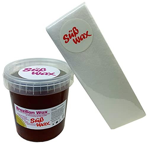 1100g Süß Wax Brazilian Wax zur Enthaarung mit Vlies 100% Natürlich. Warmwachs aus Zucker, Honig und Zitrone. Bikini Wax Sugaring Zuckerpaste + 100 Vliesstreifen
