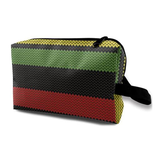 Neceser Colgante de Viaje,Efecto Tejido Rayas Rastafari Elementos Abstractos de la Cultura caribeña...