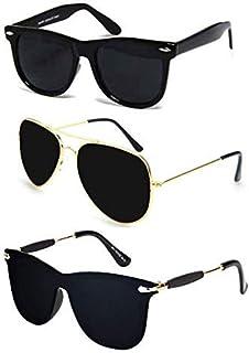 f2352d416bdb Sheomy UV Protected Aviator Men's Sunglasses(3IN1-105_7|Black) - Combo of