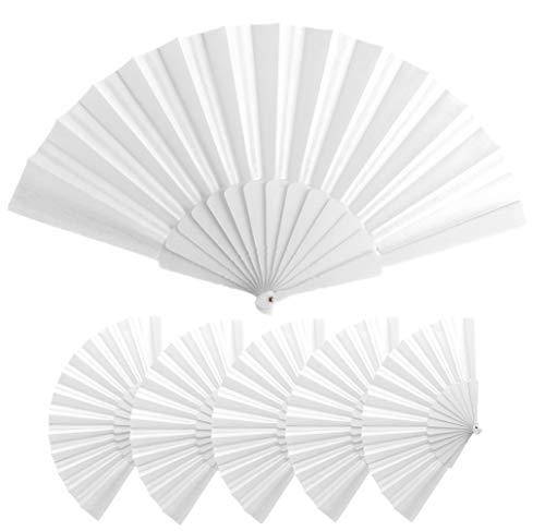 Lote 25 Abanicos de varillas de plastico y tela poliester, Med 43 x 23 cm | 47 gr, Abanicos baratos, detalle boda, bautizos, comuniones, Abanicos personalizables (Blanco)