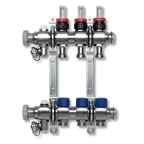 Colector circuito de calefacción con caudalímetro de ida y válvulas termostáticas de...