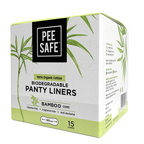 Pee Safe Organic Cotton, Biodegradable Panty Liners (Pack of 15)
