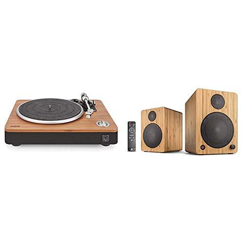 House of Marley Stir It Up Plattenspieler, Vinyl-Plattenspieler, Record Player, Stereo-Vorverstärker & wavemaster Cube Mini NEO Bamboo - Regallautsprecher-System (36 Watt) mit Bluetooth-Streaming
