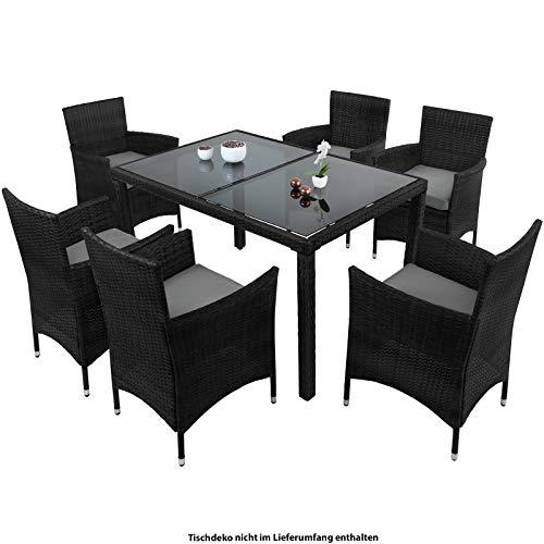 Montafox 13-teilige Polyrattan Essgruppe 6 Personen Tisch Stühle Auflagen Bezüge Sitzgruppe Terasse Esszimmer, Farbe:Titan-Schwarz/Kieselstrand
