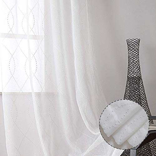 VISIONTEX Moroccan White Sheer Window Curtain Panels Embroidered, White Dots Patterned Semi VoileEmbroidery Faux Linen Rod Pocket Window Treatment Drapes for Living Room 54 x 63 Inch, Set of 2