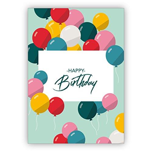 Verjaardagskaartenset 5 stuks: vrolijke kleurrijke verjaardagskaart met vliegende ballonnen als wenskaart voor verjaardag: Happy Birthday