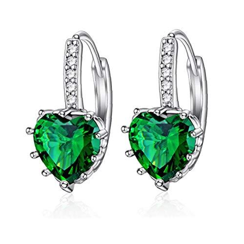 En Forma de corazón circón de Plata del oído del Manguito del Perno Prisionero del Clip en Verde earcuff Sin Pendientes Piercing Conjunto de Joyas de joyería