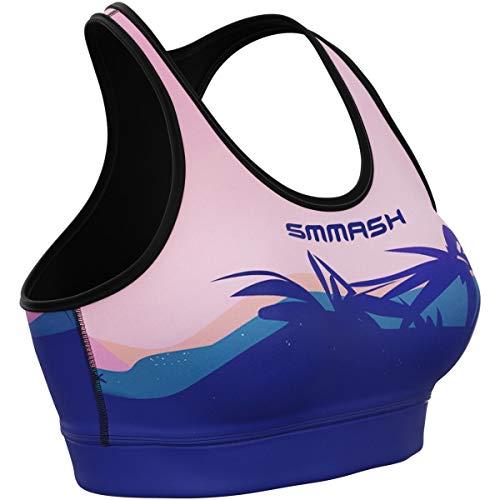 SMMASH Dreamy Sunset Damen Compression Sport Bra, Funktionstop für Crossfit, Fitness, Gym, Laufen, Yoga Top, Fit Cut BH Damen Atmungsaktiv und Leicht, Tops Frauen, Hergestellt in der EU (XL)