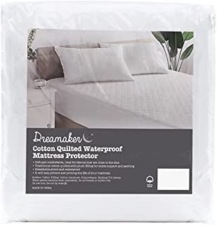 Dreamaker Cotton Quilted Bamboo Knitted Waterproof Mattress Protector   Child-Friendly, Breathable & Moisture Control   La...