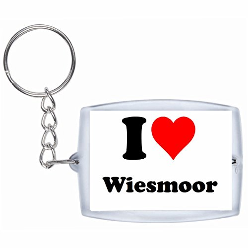 Druckerlebnis24 Schlüsselanhänger I Love Wiesmoor in Weiss - Exclusiver Geschenktipp zu Weihnachten Jahrestag Geburtstag Lieblingsmensch