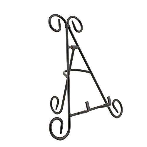 "Adorox (9"") Black Iron Display Stand Holds Cook Books, Plates, Pictures & More"