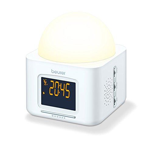 Beurer WL 30 Lichtwecker, Wecker mit schrittweise heller werdendem Licht, Radio- Schlummer- und Gute-Nacht-Funktion
