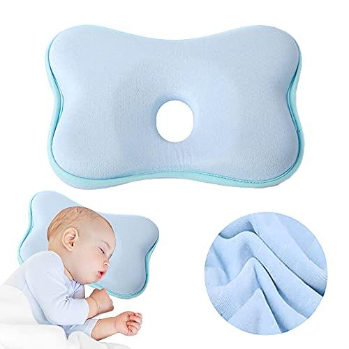 Almohada para bebé, cabeza plana para bebé, almohada de espuma con memoria