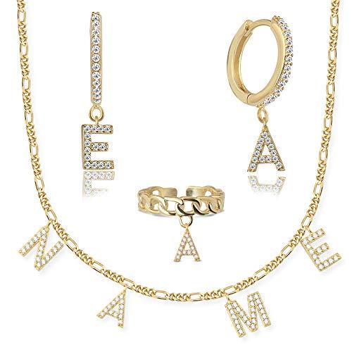 Meinearmbänder Ohrringe Gold aus 925er Silber I Creolen mit Buchstaben Anhänger I Erstellen Sie Ihr eigenes Set I Ohrstecker mit Zirkonia Steinen I Durchmesser 13mm