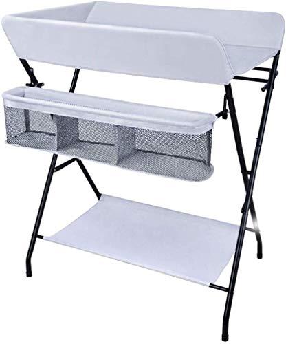H.yina Table à Langer Pliante pour Petits espaces, Commode pour Station de Massage pour Couches pour bébés dans Une pépinière Portable, Gris, 0-2 Ans (Couleur: A)