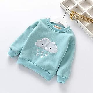 ملابس الاطفال Winter Children Anthropomorphic Cloud Pattern Plus Velvet Thick Warm Shirt, Height:130cm(Pink) ملابس الأولاد (Color : Light Blue)