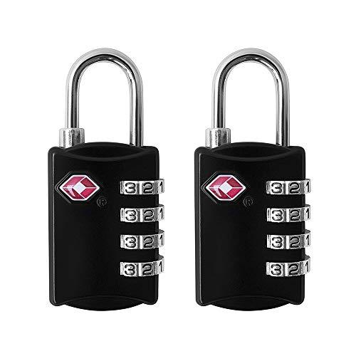 HSDCK 2 Pack TSA Approved Luggage Locks 3 Digit Security Padlock, Combination Padlocks,for Suitcase, Zipper, Luggage,Backpack, Gym Locker,Black