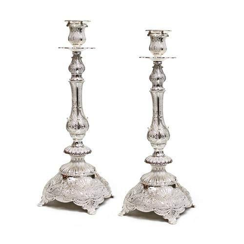 Judaica Kerzenständer, modern, versilbert, filigranes Design, 33 cm
